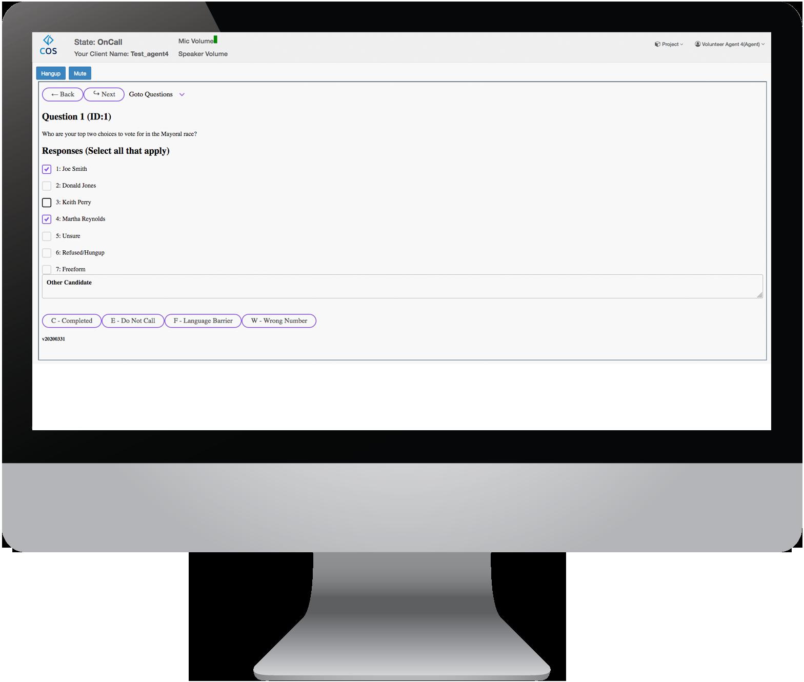 The COS Dashboard Dynamic Scripting Screen